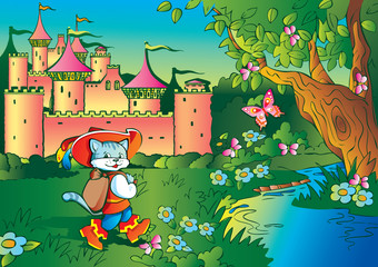 Poster Castle Fairy tale. Puss in Boots