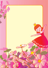 Princess dancing on the flowers and sample text. Fairy-tale.