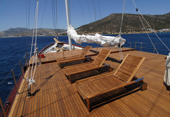 luxury wooden boat deck