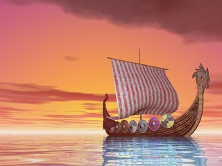 Viking Ship at Sea