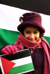 Girl with palestinian flag