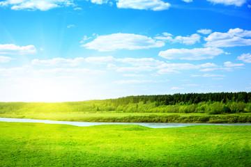 Keuken foto achterwand Lime groen river and spring field