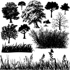 Grass and Tree collage vector