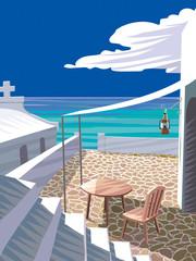 エーゲ海とテラス