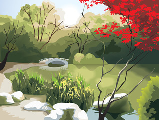 Chinese landscape, bridge and pond, photo-realistic vector