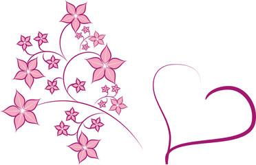 Rosa Herz Floral