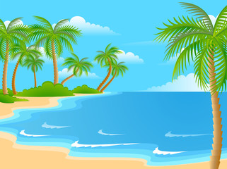 Beautiful a bright landscape on the summer beach
