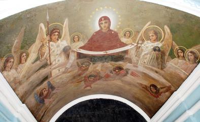 Fresco on a church