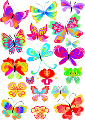 many multicolored butterflies on a white background collection 2
