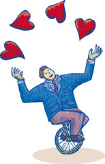 Business man on a monocycle is playng with some hearts.
