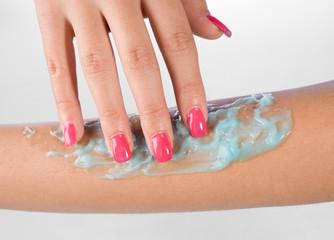 woman arm with skin gel