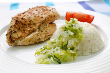 Roasted chicken with white rice and vegetables