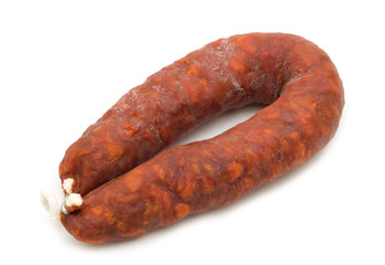 Iberian chorizo on white background