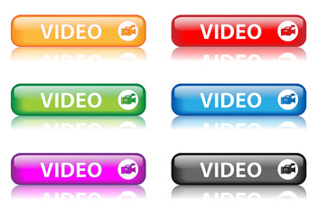 """""""Video"""" buttons (various colours with reflection) (x6)"""