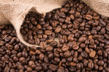 coffee beans and sack