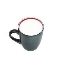 Black cup with red rim full of milk isolated