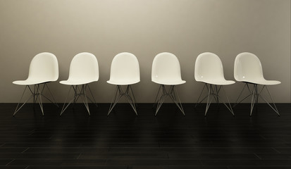 white chairs in a row
