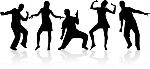 Dancing people silhouettes 4