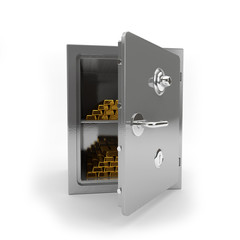 The safe for storage of gold and money on a white background