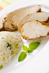 Roasted chicken  meat with white rice and vegetables