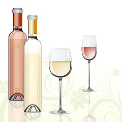 """Wine design"" – bottles and glasses with red and white wine"