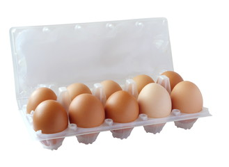 Ten of brown eggs in packing . (isolated)