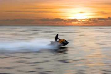 Fotobehang Water Motor sporten jetski
