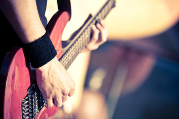 red guitar playing