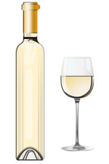 Bottle of white wine with a glass - vector file