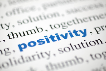 mot positivity bleu texte flou