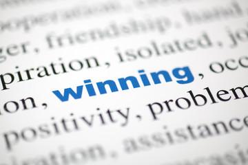 mot winning victoire texte flou mot bleu