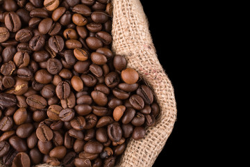 coffee beans in a sack look from above