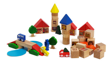 Child's wooden toy town