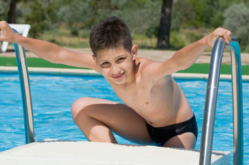 boy at the swimming pool