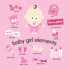 Baby girl elements set