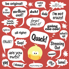 Various phrases in comic balloons