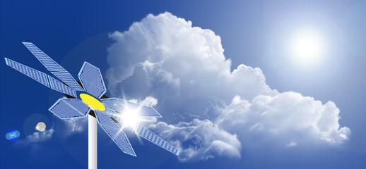 Sunflower Solar Panel Against Blue Sky
