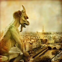 Fototapete - view of Paris from Notre dame - artistic style picture