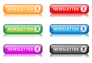 """Rectangular """"Newsletter"""" buttons with reflection (x6)"""