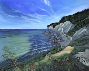 Jasmund mit Sandbank - Echte Malerei - Ideal für Kunstdruck