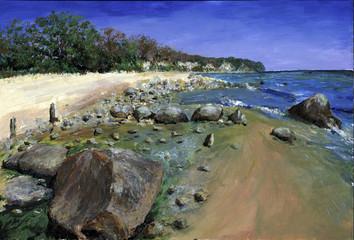 Strandwanderung - Echte Malerei - Ideal für Kunstdruck