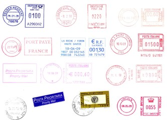 Postage meters, rubber stamps, labels isolated over white