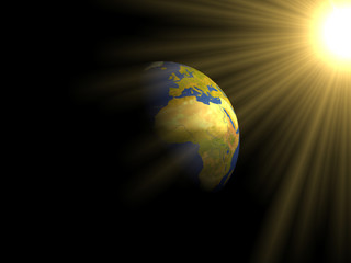Earth with sun