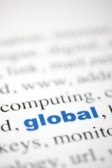 mot global mondial lettres bleu texte flou