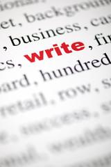 mot write écrire lettre rouge texte flou