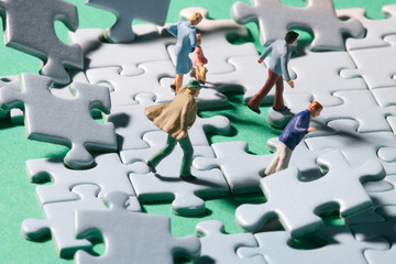 Stormy puzzle with persons
