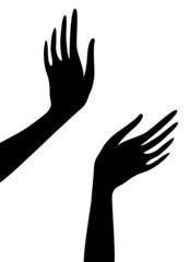 Silhouette noire mains