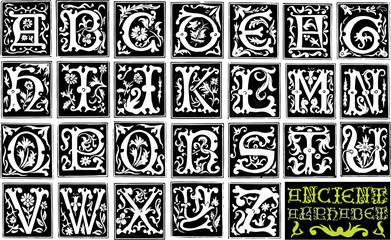 16th century engraved ornamental alphabet