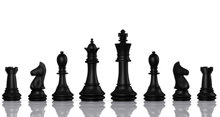 Isolated chess pieces set, black