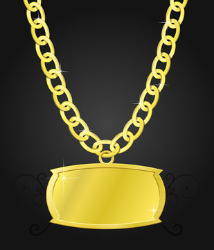 gold set of chain and plaque